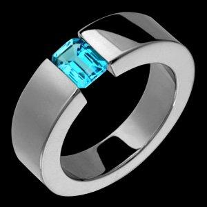 Dalia - Size 11.00 Titanium Ring With Tension Set Blue Topaz