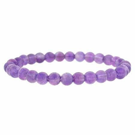 Genuine Amethyst Stone 6mm Bead Beaded Stretch Bracelet