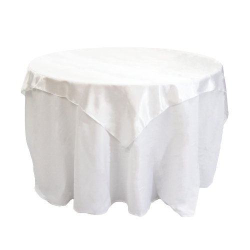 Koyal Wholesale Square Satin Overlay Table Cover, 72 By 72-Inch, White front-1015550