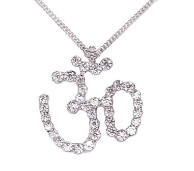 Sterling Silver Symbols of Hope & Protection Necklace Pendant Hinduism Cz & Sapphire