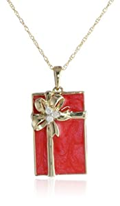 10k Yellow Gold Red Enamel with Diamond-Accent Gift Box Pendant Necklace (.03cttw, I-J Color, I2-I3 Clarity), 18""