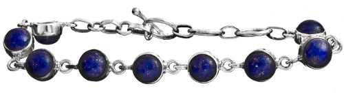 Sterling Bracelet with Gems - Sterling Silver - Color Lapis Lazuli