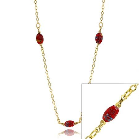 24K GOLD vermeil MURANO GLASS flower BEAD NECKLACE 20