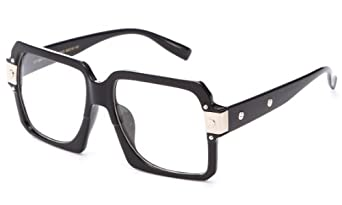IG Unisex Retro Squared Vintage Classic Stylish Clear Lens Fashion Glasses in Black/Silver