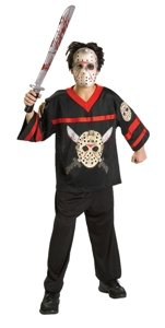 Friday the 13th Jason Jersey and Hockey Mask Child Costume Size Medium