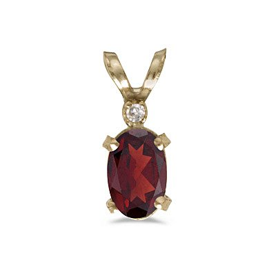 14k Yellow Gold Oval Garnet And Diamond Filagree Pendant With 18 Inch Rope Chain