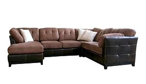 Baxton Studio Ehno Leather/Microfiber 4pc Sofa Set, Brown