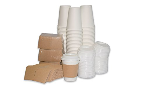 2dayShip 100 Pack Paper Coffee Hot Cups WHITE with Travel Lids and Sleeves - 12OZ