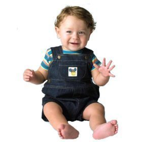 Under The Nile Lap Tee With Denim Overall, Blue/Stripe, 3-6 Months front-413746