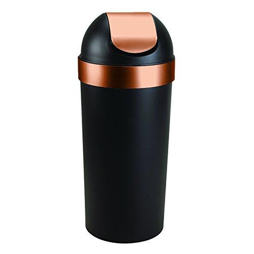 Umbra Venti 16-Gallon Swing-Top Trash Can, Black/Copper (Copper Garbage Can compare prices)