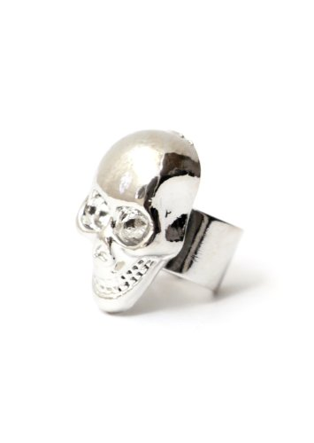 Skull Ear Cuff Metal Wrap Silver Tone Skeleton Earring Gothic Punk Fashion Jewelry