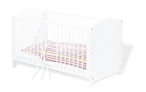 Pinolino-111617-Kinderbett-Nina-140-x-70-cm-mit-3-Schlupfsprossen-aus-vollmassiver-Fichte-wei-lasiert