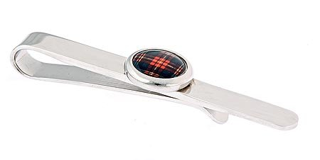 JJ Weston silver plated tie slide with tarten accent with presentation box. Made in the U.S.A