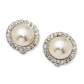 Simulated 15mm Mabe Pearl and Swarovski Element Crystal Clip Earrings - JewelryWeb