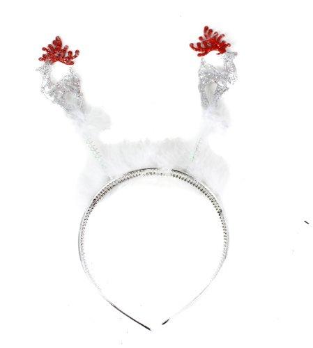 Glamour Girlz Festive Productions-Albero di Natale a forma di renna con brillantini, colore: bianco con piume Deeley Bopper Aliceband in 4 colori rosso Taglia unica