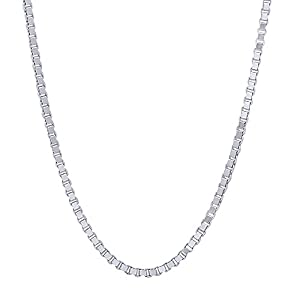 1.5mm Solid 925 Sterling Silver Box Chain Necklace, 18