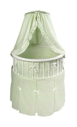 Imagen de Badger Basket Elegance Ronda bebé cuna, blanca con Waffle Sage