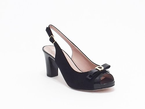 Donna Serena sandalo donna in camoscio e vernice colore nero tacco alto