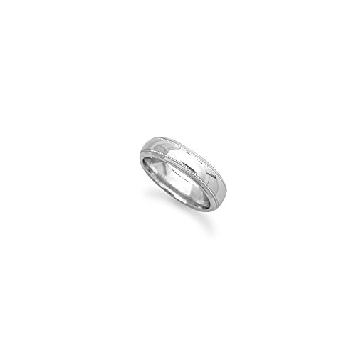 9ct White Gold 5mm Court Millgrain Wedding Band Ring