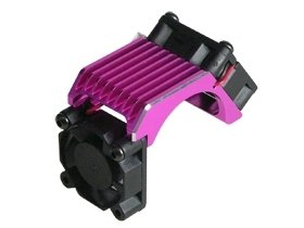 3Racing #3R/3Rac-Mhs010/Pk Aluminium Brushless 540 Motor Heatsink -Twin With Cooling Fan - Pink Color For Most Rc Cars