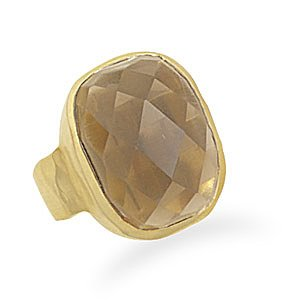 Sterling Silver Faceted Smoky Quartz Ring with 14 Karat Gold Plated Matte Finish Band / Size 6