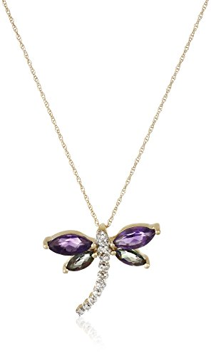 10k Yellow Gold Amethyst and Mystic Topaz with Diamond Dragonfly Pendant Necklace