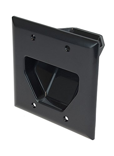 DataComm Electronics 45-0002-BK 2-Gang Recessed Low Voltage Cable Plate, Black