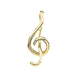 IceCarats Designer Jewelry 14K Yellow Gold Treble Clef Musical Note Pendant 21.00X09.00 Mm