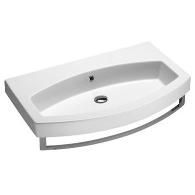 Losagna Contemporary Design Curved Ceramic Sink Faucet Mount: No Hole