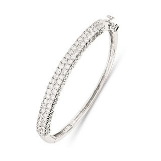 Childrens Sterling Silver CZ Bangle - S00098 - Width 6mm - Diameter 47mm.