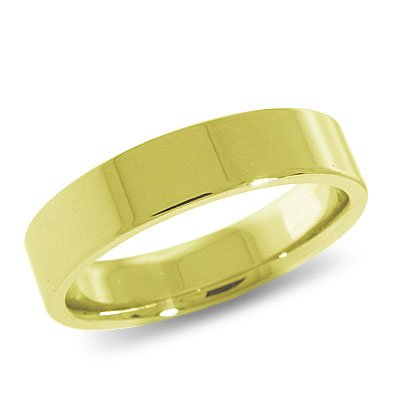 10K Yellow Gold, Flat Comfort Fit Wedding Band 5MM (sz 15)