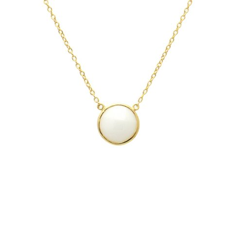 apop nyc 14k Gold Vermeil Faceted White Agate Stone Necklace 16