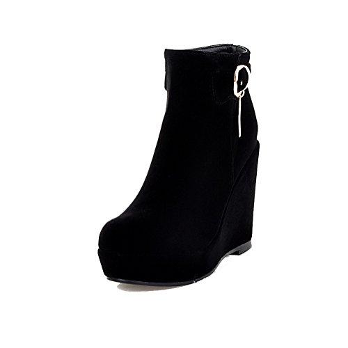 AgooLar Donna Alla Caviglia Chiodato Cerniera Punta Tonda Stivali con Ornamento Di Metallo, Nero, 37