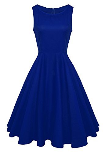 Anni Coco Women's Classic 1950s Vintage Hepburn Dresses Blue Small