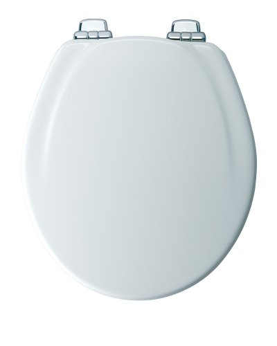 Mayfair 30CHSLB 000 Designer Series Wood Toilet Seat with Chrome Whisper-Close Hinges, Round, White (Toilet Seat Cover Chrome compare prices)