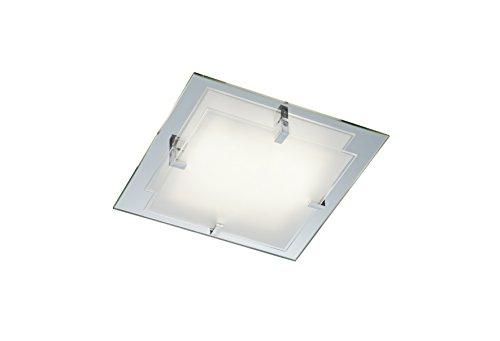 Trio-Leuchten 601100200 - Lampada da soffitto con vetro riflettente, vetro bianco satinato, due punti luce E14 max. 40 W,  32 x 32 cm