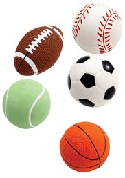Grriggles All-Star Squeakies Sport Balls for Dogs - Set of 5 Balls