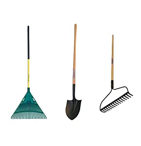 Midwest MWC-0001 3-Piece Homeowner's Garden Tool Kit With Poly Leaf Rake, Bow Rake & Round Point Shovel