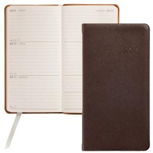 "2013 Brown 6"" Pocket Datebook Diary in Fine Traditional Calfskin Leather by Graphic Image – 3.120×6"