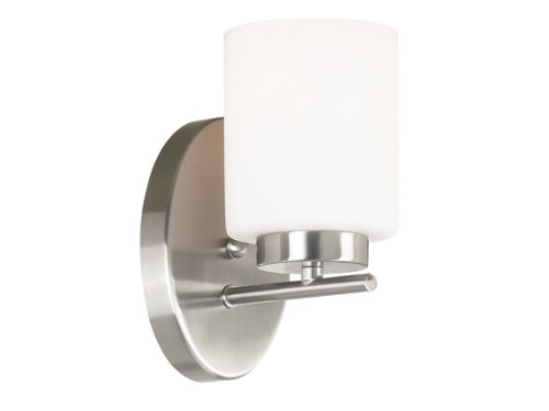 Kenroy Home 80401BS Mezzanine One-Light Sconce With 6-Inch Frosted White Glass Shade, Brushed Steel