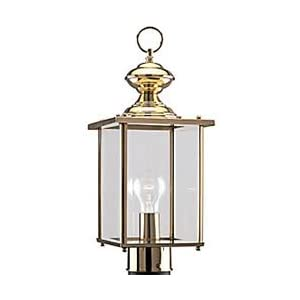 Click to read our review of Sea Gull Lighting Single-Light Jamestowne Post Lantern Top with Clear Beveled Glass, Polished Brass