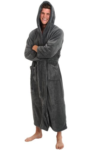 del rossa men 39 s fleece robe long hooded bathrobe large xl steel gray a0125stlxl apparel. Black Bedroom Furniture Sets. Home Design Ideas