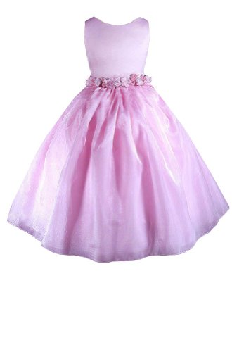 Amj Dresses Inc Big Girls Elegant Pink Flower Girl Pageant Dress Size 10