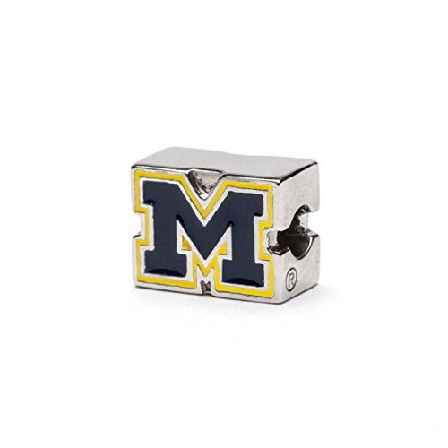 University Of Michigan Block M Bead Charm Blue With Maize