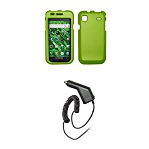 Samsung Vibrant T959 - Neon Green Rubberized Snap-On Cover Hard Case Cell Phone Protector + Rapid Car Charger for Samsung Vibrant T959