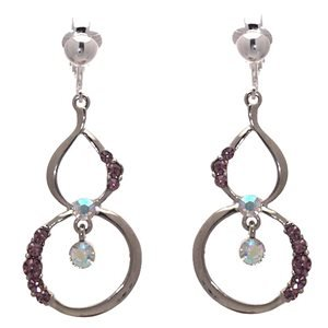 Melora Silver Pink Crystal Clip On Earrings