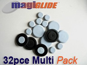 MagiGLIDE (TM) 32 Piece Multi Set contains 8x20mm, 4x30mm, 4x40mm, 8x50mm Round Discs  &  8x24mm Square Pads. The ULTIMATE Dual Purpose glide system with easy movement  &  complete floor protection.