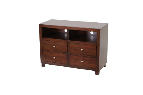 Image of Poundex TV Stand of Simplicity, 200-Pound Capacity, Antique Brown (F4515)