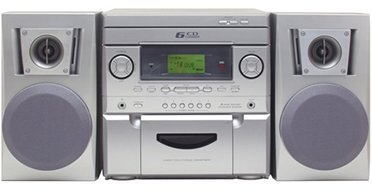 AudioLogic Mini Hifi System with Text Display AM/FM Digital Radio Tuner 6-Disc CD Changer,Player AUX Inputs with remote