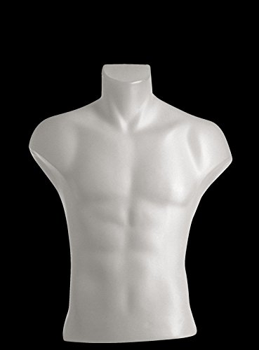 Male Torso Dress Form Mannequin Display Bust White (#5027) (Dress Bust Form compare prices)